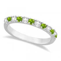 Diamond and Peridot Ring Guard Anniversary Ring 14k White Gold (0.32ct)