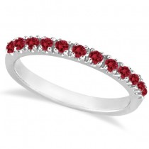 Garnet Stackable Ring Guard Band 14K White Gold (0.37ct)