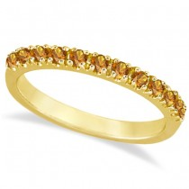 Citrine Stackable Band Anniversary Ring Guard 14k Yellow Gold (0.38ct)