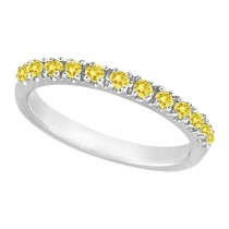 Yellow Canary Diamond Stackable Ring Anniversary Band Palladium 0.25ct