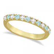 Diamond & Aquamarine Ring Guard Stackable Band 14k Yellow Gold (0.32ct)
