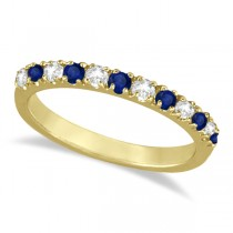 Diamond & Blue Sapphire Ring Anniversary Band 14k Yellow Gold (0.32ct)