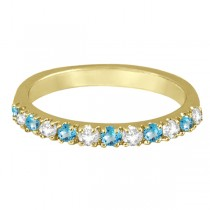 Diamond & Blue Topaz Ring Guard Stackable Band 14k Yellow Gold (0.32ct)