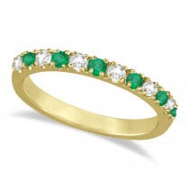 Diamond and Emerald Band Stackable Ring Guard 14k Yellow Gold (0.32ct)