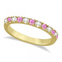 Diamond and Pink Sapphire Ring Stackable Guard 14k Yellow Gold (0.32ct)
