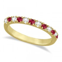 Diamond and Ruby Ring Guard Stackable Band 14K Yellow Gold (0.37ct)