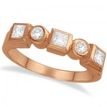 Princess-Cut & Round Diamond Ring in 14K Rose Gold (0.60ct)