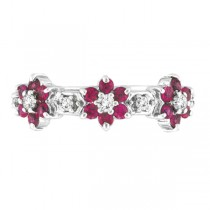 Pink Sapphire & Diamond Flower Stackable Ring 14k White Gold (0.90ct)
