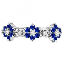 Blue Sapphire & Diamond Flower Stackable Ring 14k White Gold (0.90ct)