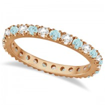 Diamond & Aquamarine Eternity Ring Stacking Band 14K Rose Gold (0.51ct)