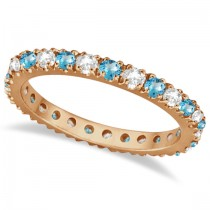 Diamond & Blue Topaz Eternity Band Ring Guard 14K Rose Gold (0.64ct)