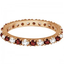 Diamond and Garnet Eternity Band Stackable Ring 14K Rose Gold (0.51ct)