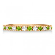 Diamond & Peridot Eternity Ring Stackable Band 14K Rose Gold (0.64ct)