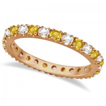 Diamond and Yellow Sapphire Eternity Ring Band 14k Rose Gold (0.64ct)