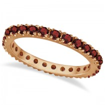 Garnet Eternity Band Stackable Ring 14K Rose Gold (0.50ct)