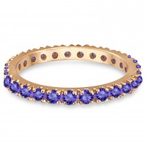 Tanzanite Eternity Stackable Ring Band 14K Rose Gold (0.75ct)