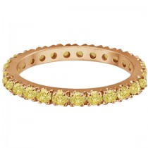 Fancy Yellow Canary Diamond Eternity Ring Band 14K Rose Gold (0.51ct)