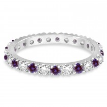 Lab Alexandrite Eternity Stackable Ring Band 14K White Gold (0.75ct)