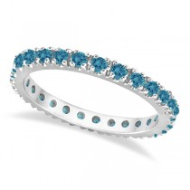 Fancy Blue Diamond Eternity Band Wedding Ring 14K White Gold (0.50ct)