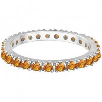 Citrine Eternity Stackable Ring Band 14K White Gold (0.75ct)