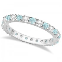 Diamond & Aquamarine Eternity Ring Stack Band 14K White Gold (0.51ct)