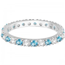 Diamond & Blue Topaz Eternity Ring Stack Band 14K White Gold (0.64ct)