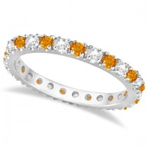 Diamond and Citrine Eternity Ring Guard Band 14K White Gold (0.64ct)