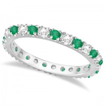 Diamond & Emerald Eternity Ring Stackable Band 14K White Gold (0.64ct)
