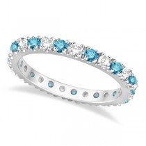 Fancy Blue & White Diamond Eternity Ring Band 14K White Gold (0.50ct)