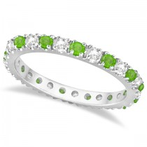 Diamond & Tsavorite Eternity Ring Guard Band 14K White Gold (0.64ct)