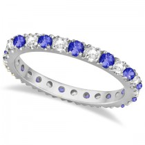 Tanzanite & Diamond Eternity Stackable Ring Band 14K White Gold (0.75ct)