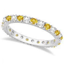 Diamond and Yellow Sapphire Eternity Ring Band 14k White Gold (0.64ct)