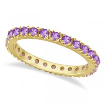 Amethyst Eternity Stackable Ring Band 14K Yellow Gold (0.75ct)