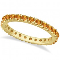 Citrine Eternity Stackable Ring Band 14K Yellow Gold (0.75ct)