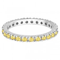 Fancy Yellow Canary Diamond Eternity Ring Band Palladium (0.51ct)