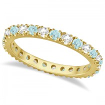 Diamond & Aquamarine Eternity Ring Guard Band 14K Yellow Gold (0.51ct)