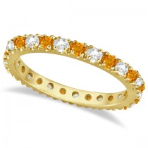 Diamond and Citrine Eternity Band Ring Guard 14K Yellow Gold (0.64ct)