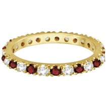 Diamond and Garnet Eternity Ring Guard Band 14K Yellow Gold (0.51ct)