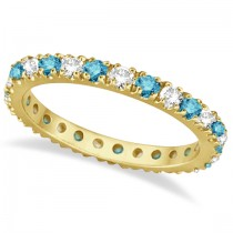 Fancy Blue & White Diamond Eternity Ring Band 14K Yellow Gold (0.50ct)
