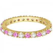 Diamond & Pink Sapphire Eternity Ring Stackable 14k Yellow Gold (0.63ct)