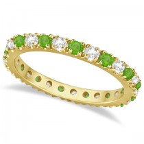 Diamond & Tsavorite Eternity Ring Guard Band 14K Yellow Gold (0.64ct)