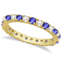 Tanzanite & Diamond Eternity Stackable Ring Band 14K Yellow Gold (0.75ct)