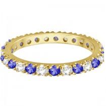 Tanzanite & Diamond Eternity Stackable Ring Band 14K Yellow Gold (0.75ct)