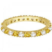 Diamond and Yellow Sapphire Eternity Ring Band 14k Yellow Gold (0.64ct)