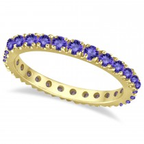 Tanzanite Eternity Stackable Ring Band 14K Yellow Gold (0.75ct)