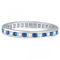 1.04ct Blue Sapphire & Diamond Channel Set Eternity Band Palladium