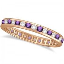 Amethyst & Diamond Channel Set Eternity Band Ring 14k Rose Gold (1.04ct)