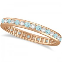 Aquamarine & Diamond Channel-Set Eternity Ring Band 14k Rose Gold (1.04ct)