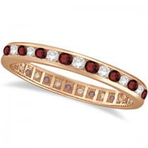 Garnet & Diamond Channel-Set Ring Eternity Band 14k Rose Gold (1.04ct)