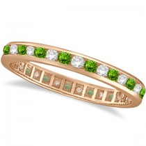 Peridot & Diamond Channel-Set Eternity Ring 14k Rose Gold (1.04ct)